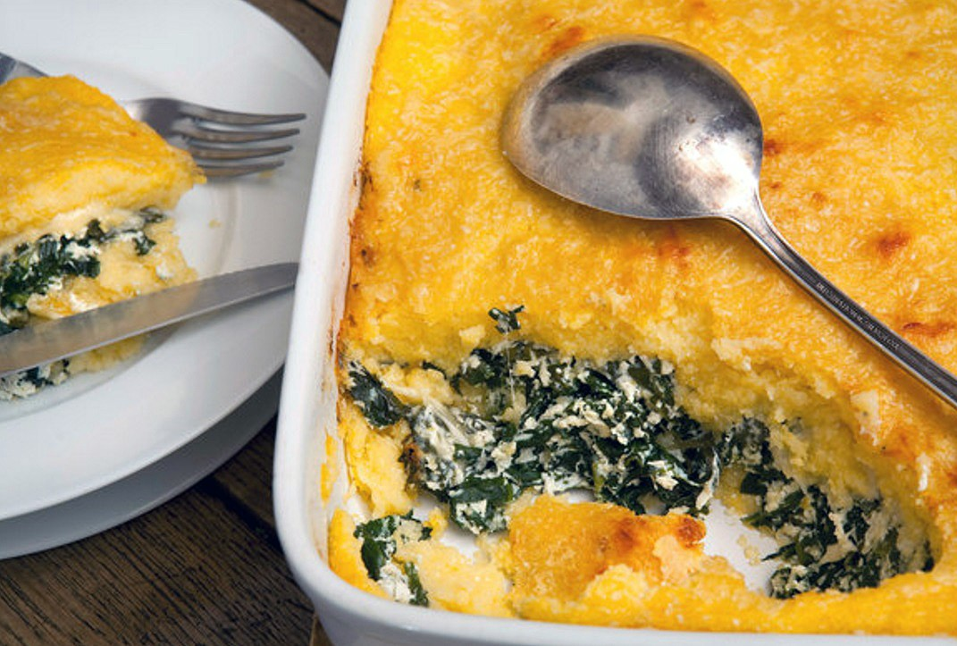 Polenta with ricotta, spinach and gorgonzola